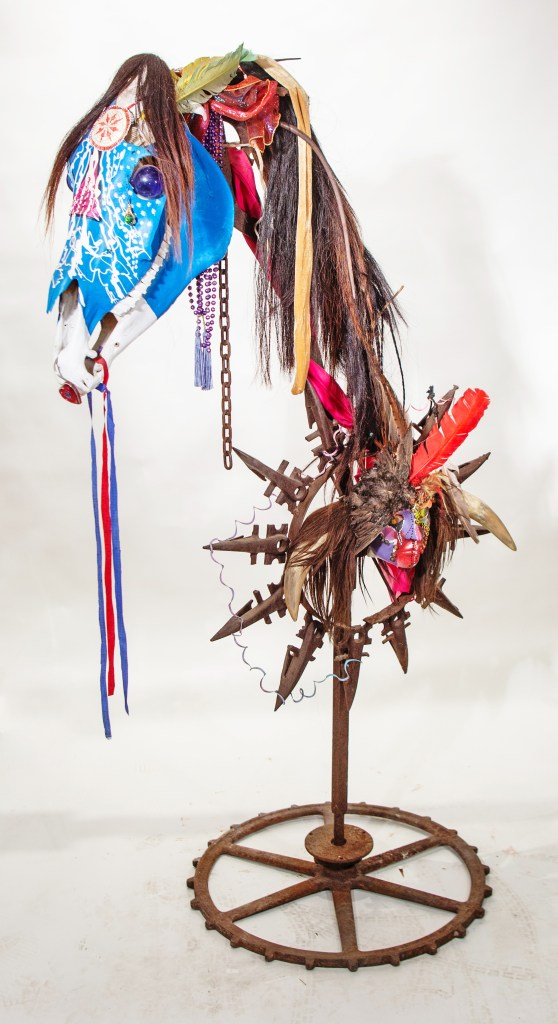"""Painted Pony / no.2051   Sculpture - Iron, Pony Skull, Beads, Found Objects   67""""h x 41""""w x 25""""d"""
