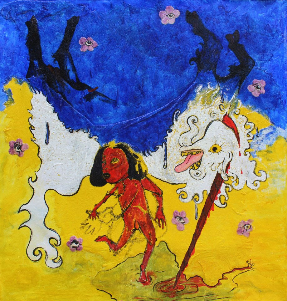 Mare Morning Mare Mourning it's a poor Castration | acrylic and cotton on canvas | 5 by 6 feet