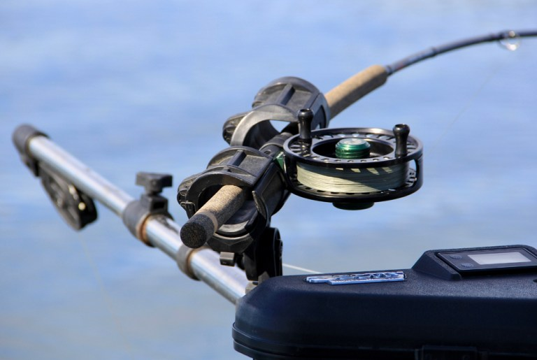 Close up of fishing rod on downrigger