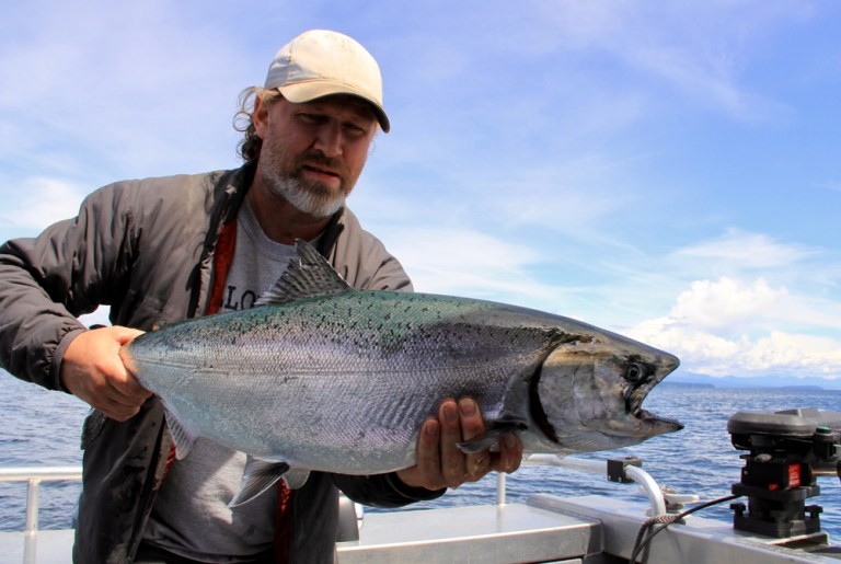 Man in baseball hat holds chinook salmon