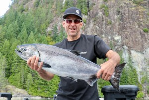 man in black campbell river salmon fishing