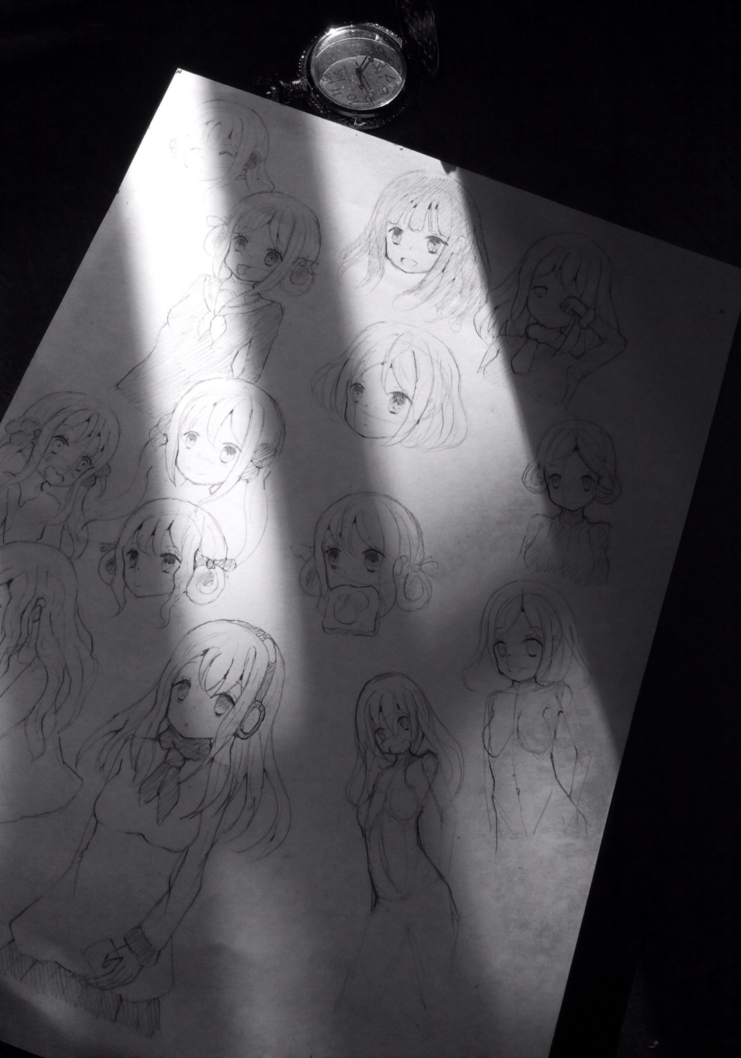 Light-Shadow Photography of Drawing Practice Paper.