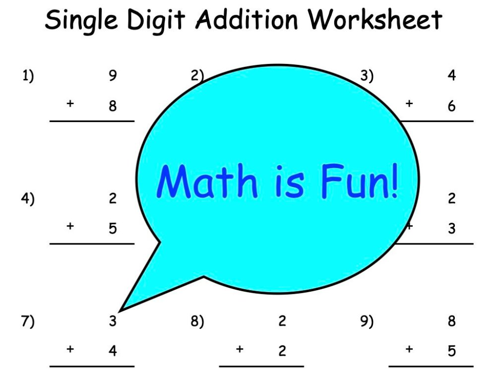 medium resolution of Single Digit Addition Worksheets   Outsiders Republic