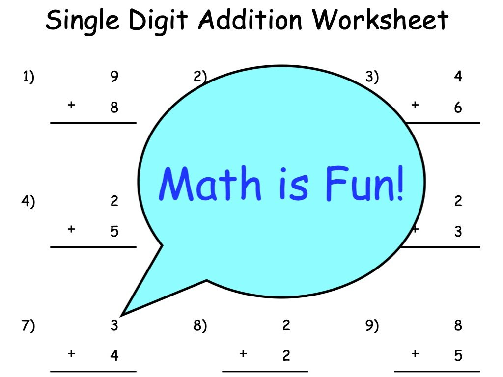 hight resolution of Single Digit Addition Worksheets   Outsiders Republic