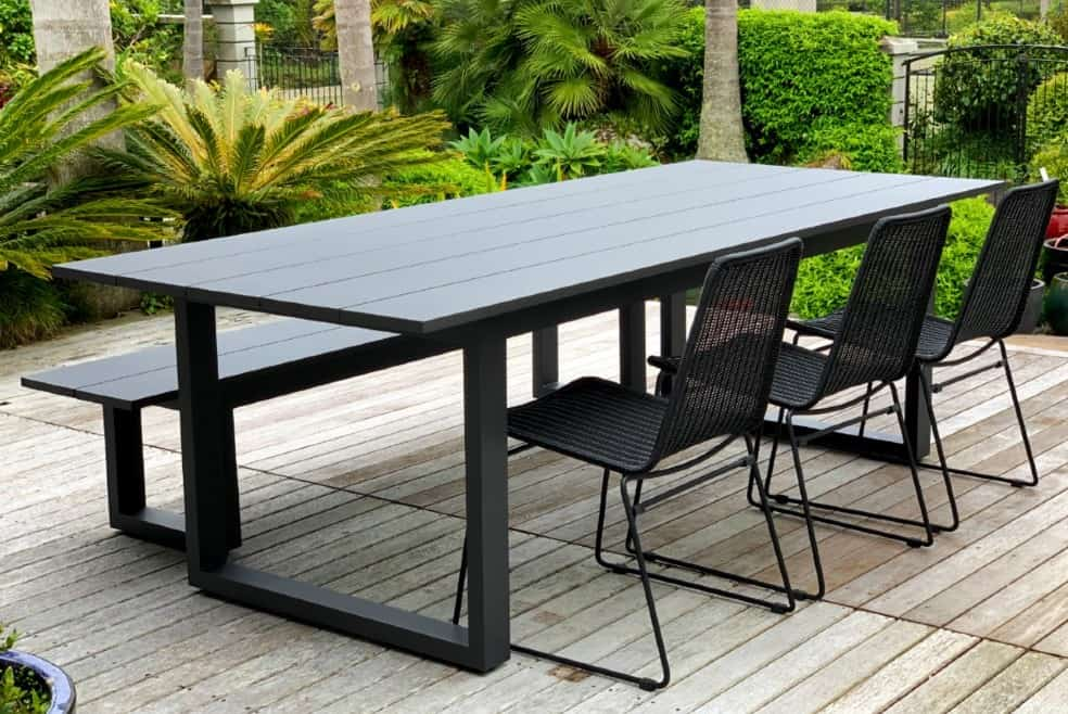 the long lunch range 8 seater outdoor dining table 2 4m 2 bench seats anthracite charcoal