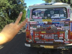 littered with bumper stickers
