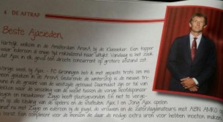 Edwin van der Sar looking dapper in his welcome note to Ajax fans