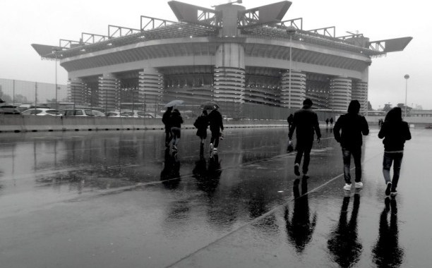 Stadio San Siro black and white