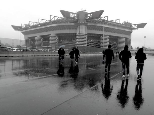 Stadio San Siro black and white