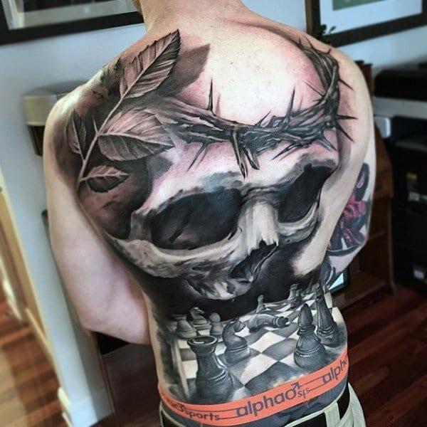 Chess Piece & Skull Tattoo