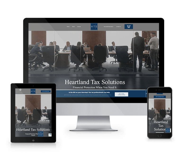 Tablet, Mobile and Desktop View of Heartland Tax Solutions