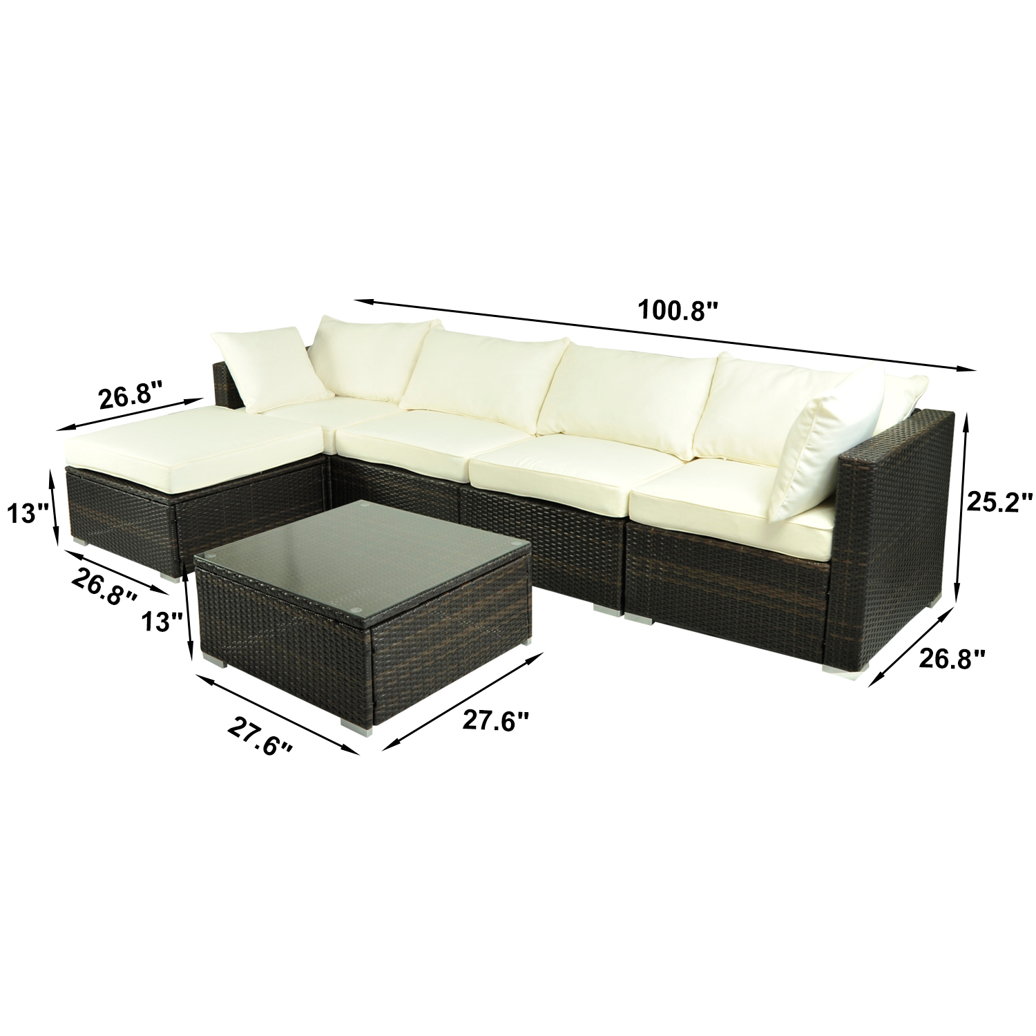 standard sofa table length star furniture brands outsunny 6pc patio rattan wicker outdoor