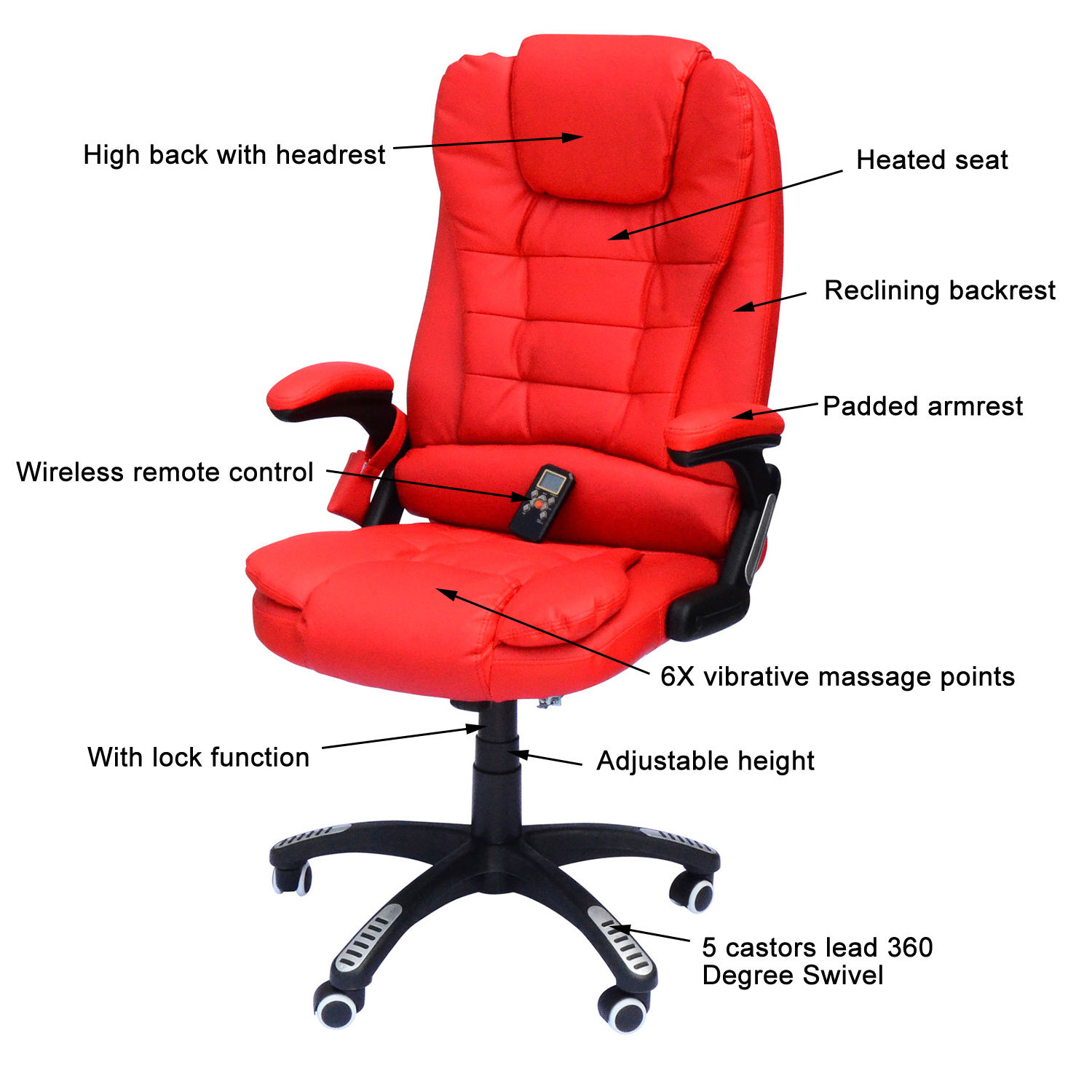 Heated Massage Office Chair Executive Ergonomic Heated Vibrating Computer Desk Office