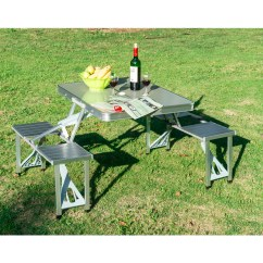 Folding Chair Picnic Table Covers For Functions New Outdoor Portable Aluminum 4 Seats