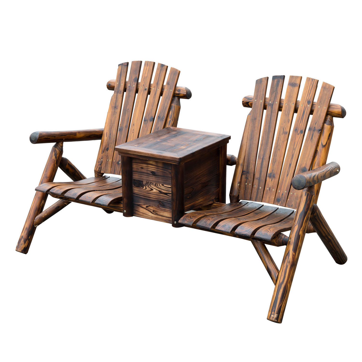 Outdoor Wooden Chairs Outdoor Patio 2 Person Double Adirondack Wood Bench Chair