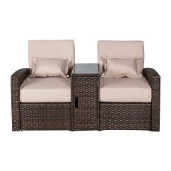 Sofa And Chaise Lounge Set Long Cushions 3pc Patio Rattan Wicker Outdoor Furniture