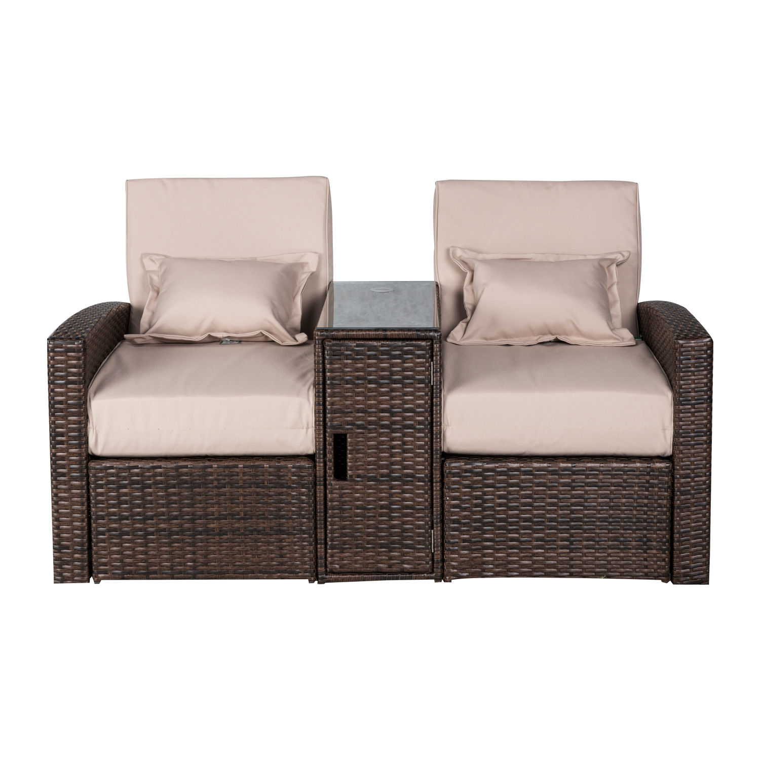 outdoor sofa lounge furniture gingham covers 3pc patio rattan wicker chaise