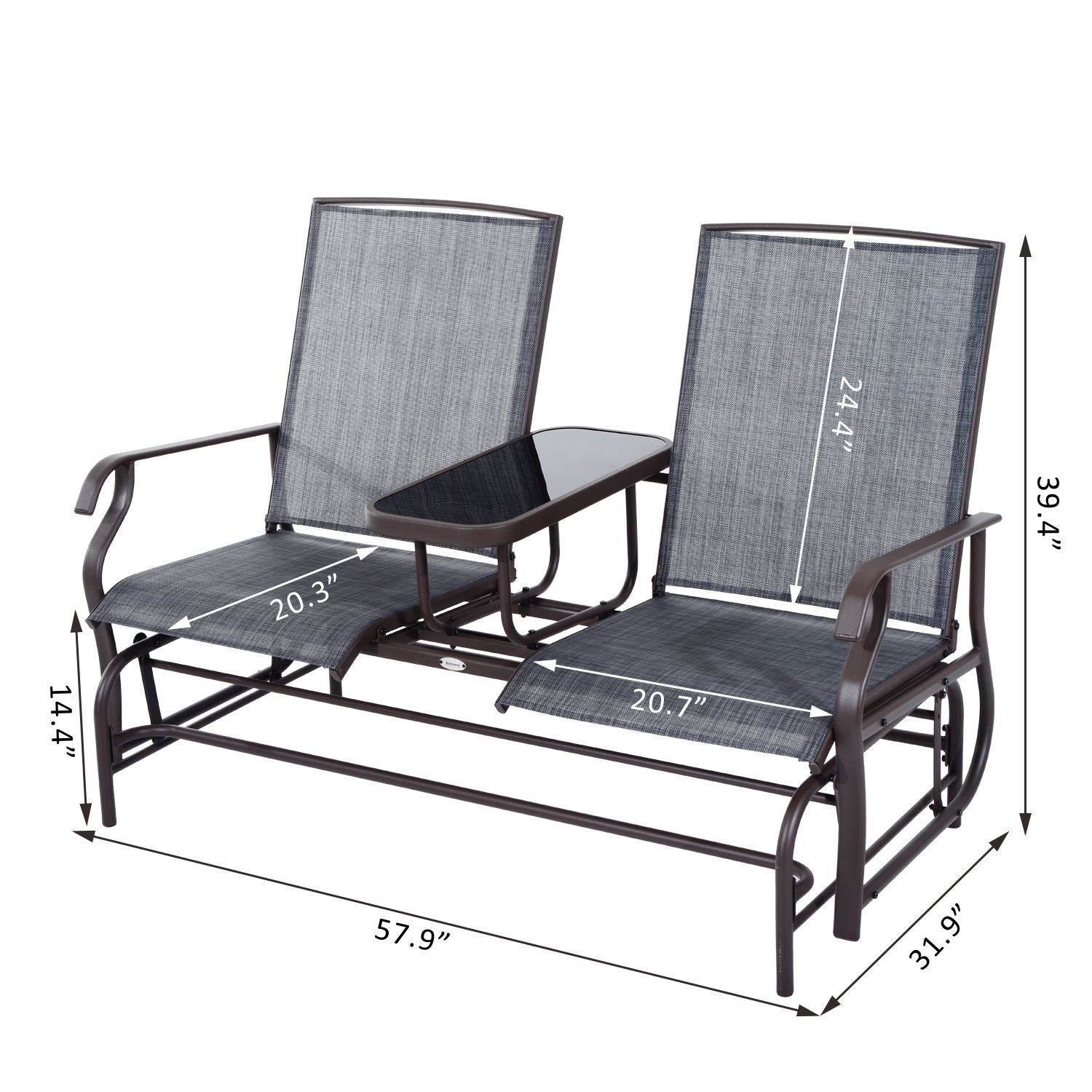 rocking chair for two casters chairs on carpet uk patio glider bench loveseat 2 person rocker