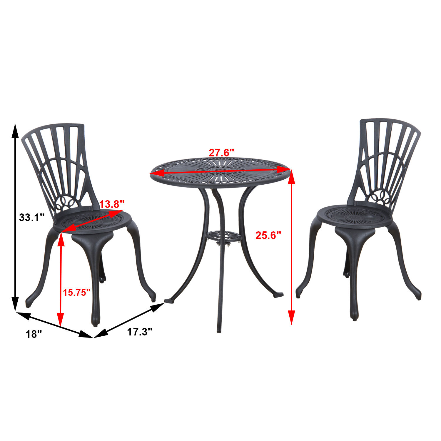 Black Patio Chairs 3pc Cast Aluminum Patio Bistro Dining Set Outdoor