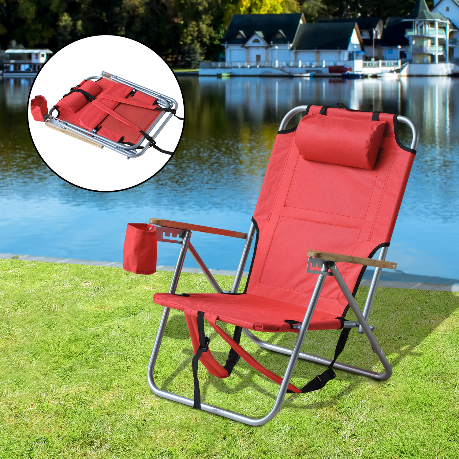 Folding Chair Storage Outsunny Folding Backpack Chair Portable Beach Camping