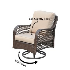 Outsunny 4pc Rattan Wicker Outdoor Patio Furniture Sofa Set Accessories Uk Rocker Chair Swivel Garden