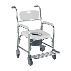 Wheelchair Toilet Foldable Gym Chair Commode Transport Bedside Bucket W 4