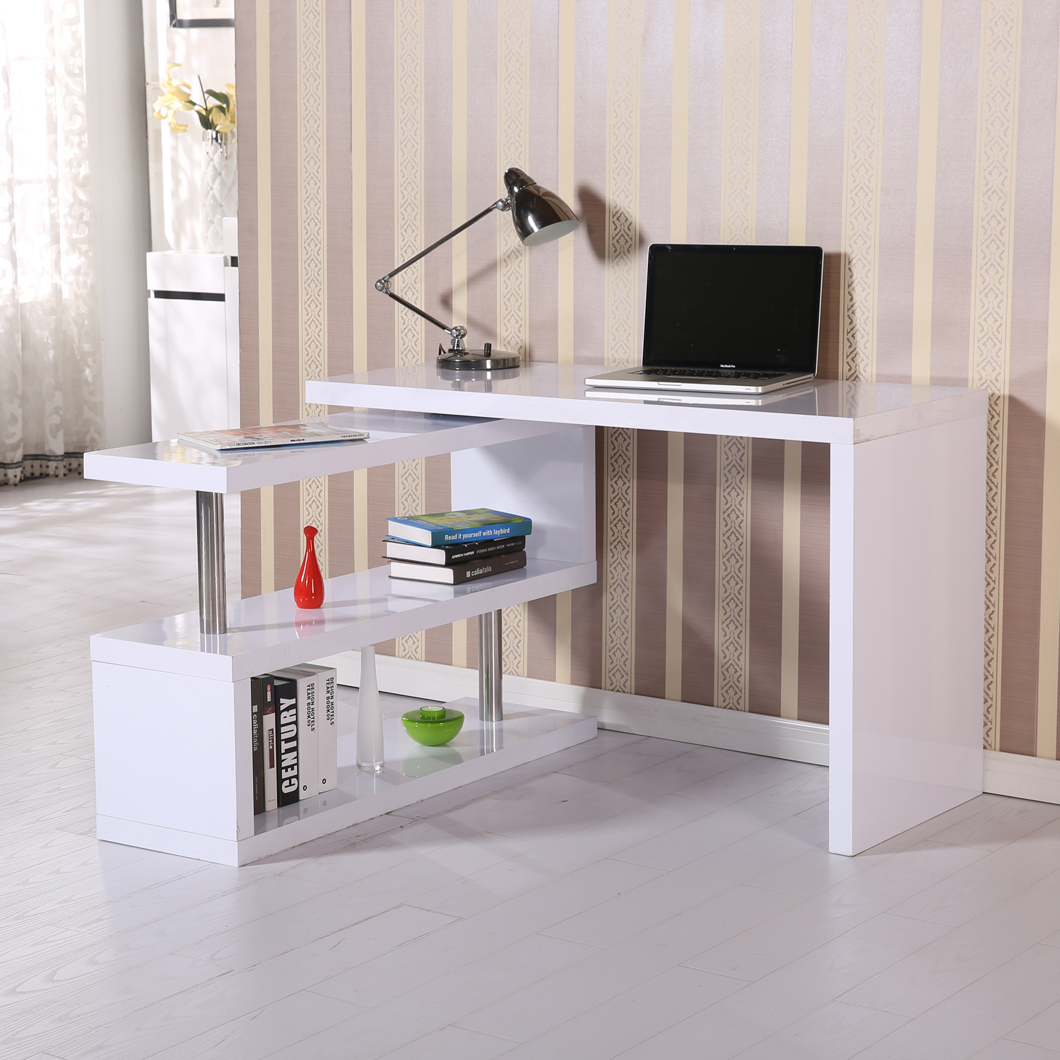 New HomCom Foldable Rotating Office Desk Shelf Combo