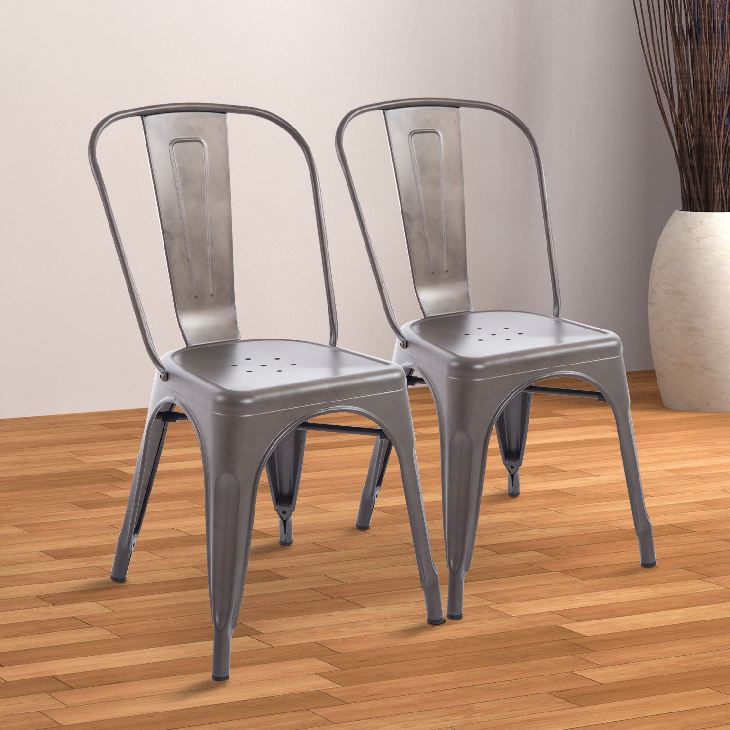 rustic metal dining chairs ergonomic outdoor chair set of 2 steel vintage