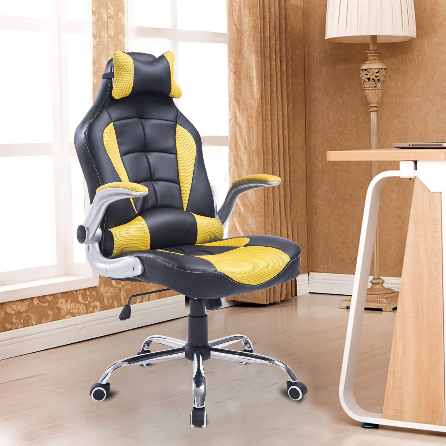 Racing Seat Office Chair Pu Office Chair Adjustable Recliner High Back Swivel