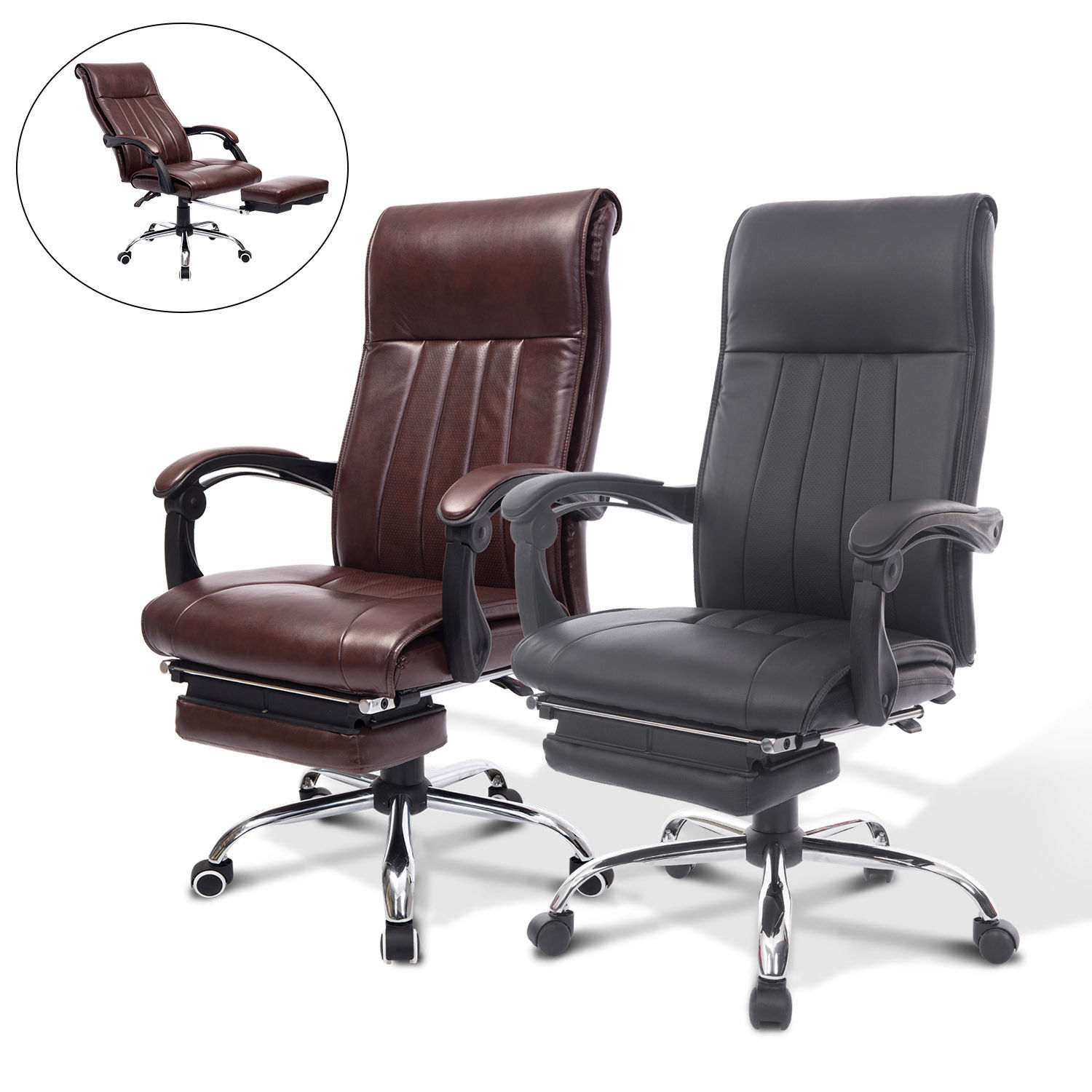 reclining office chair with footrest india folding back high ergonomic executive task