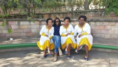 With women adorned in traditional ethiopian dresses
