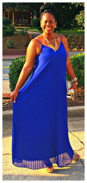 The beautiful pleated maxi dress is from Express. Looks great with a belt also.