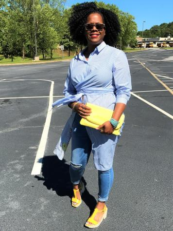 Dressing my tunic down with a pair of platform sandals by Nine West. The beautiful yellow clutch is from charmingCharlie