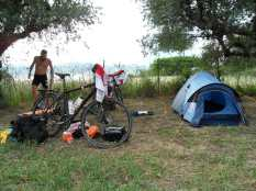 Preparing our camp in Greece