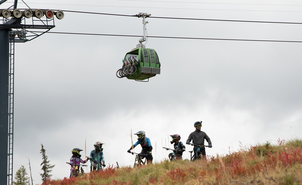 Mountain bikers at Silver Mountain Resort on a slope under the gondola.
