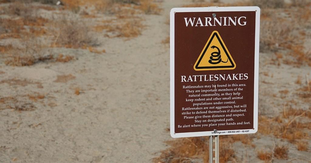 hiking trail warning sign