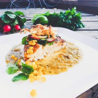 Grilled Halibut in a Roasted Tomatillo Sauce