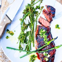 Grilled Short Rib Steak with Leek Scape Butter
