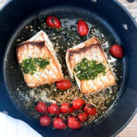 One Pan Halibut with Lemon Chive Pistou
