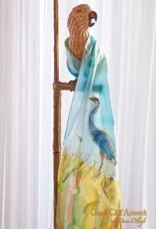 Blue Heron Hand Painted SilkScarf