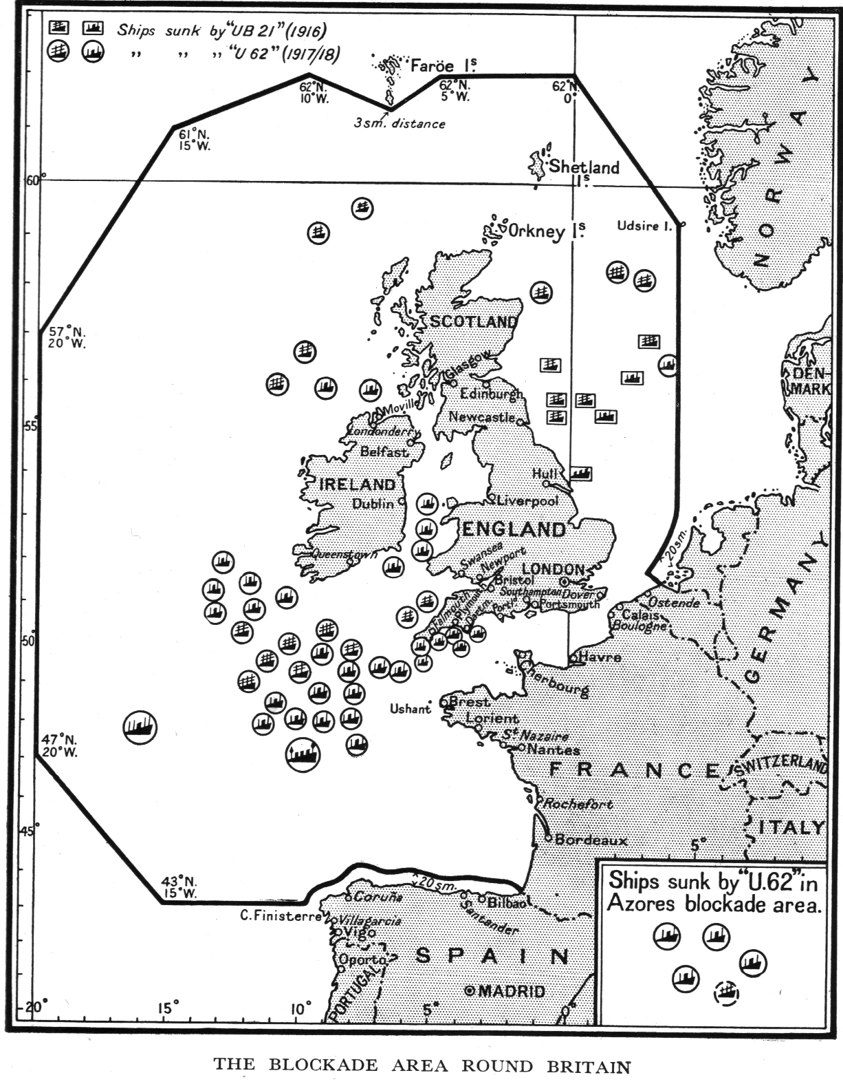 hight resolution of u62 and u21 sink ships in the blockaded areas and approaches