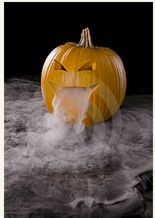 Dry ice is great for carved pumpkins and caldrons - remember to wear gloves!!