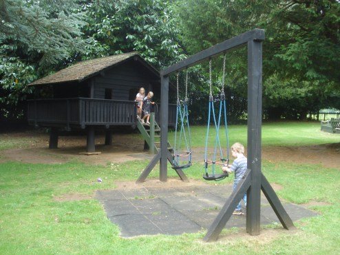 Playhouse and toddler swings