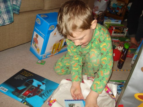 Unwrapping presents on Christmas Day