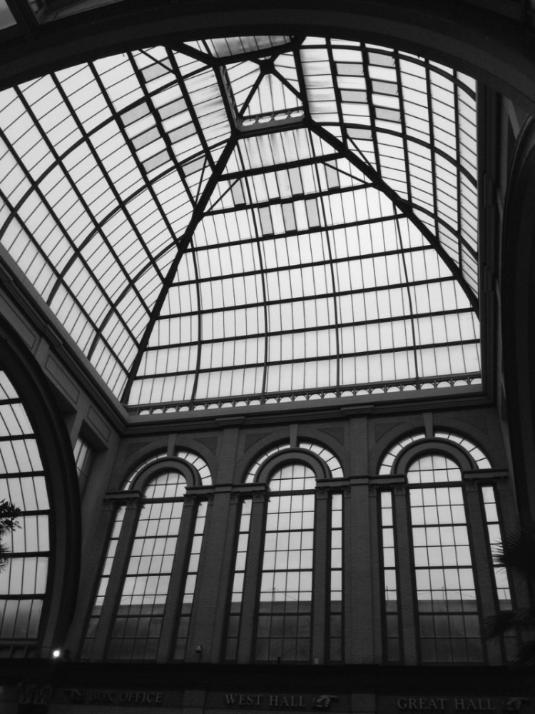 Glass roof in black and white