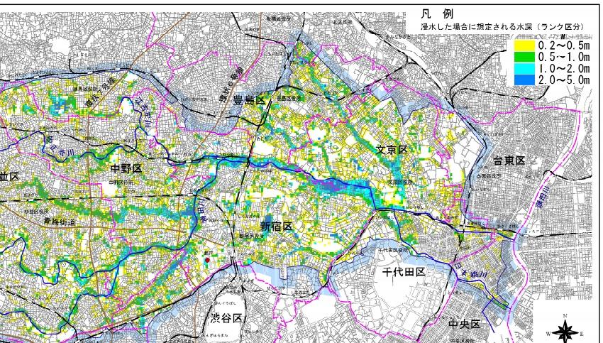 洪水ハザードマップの例 神田川流域