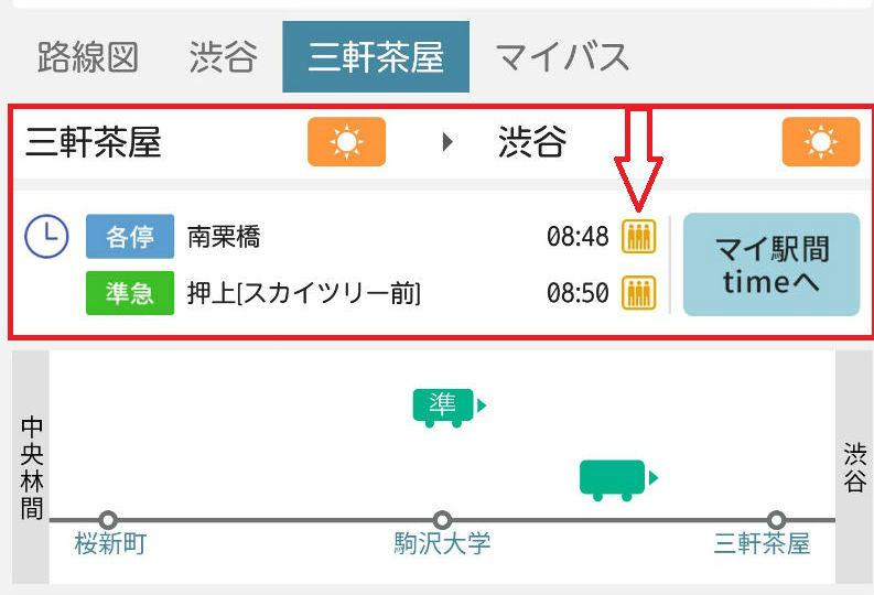 東急アプリ 三軒茶屋から渋谷方向
