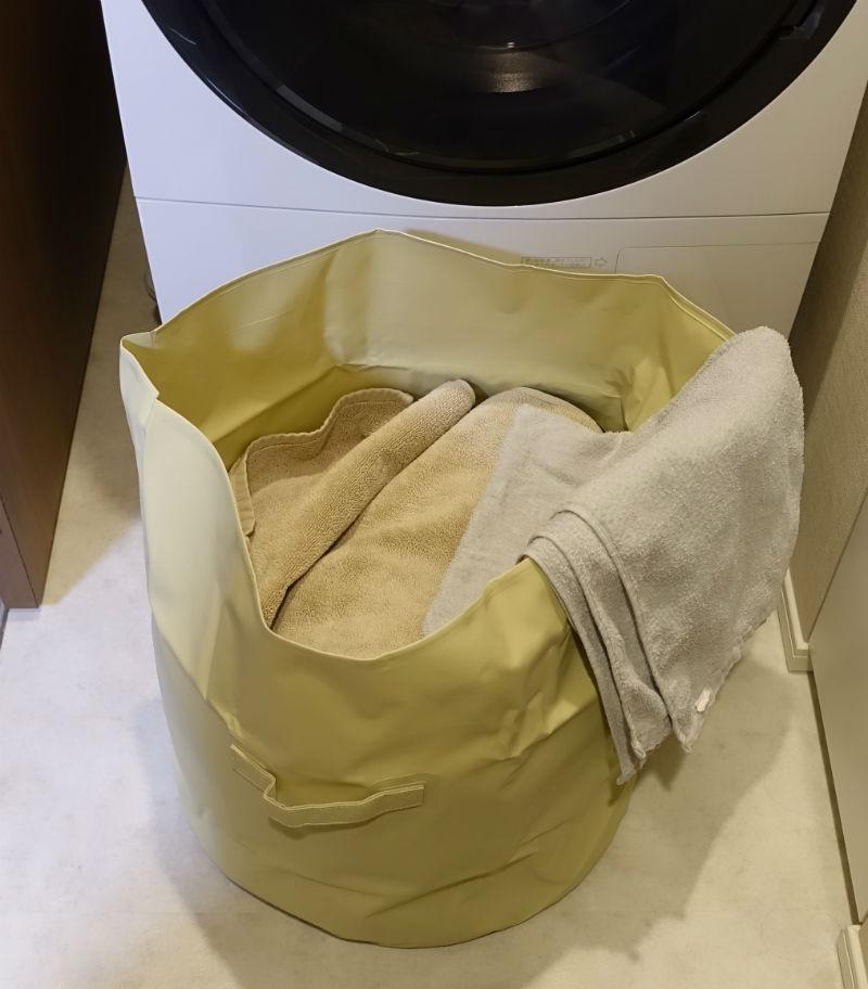 HIGHTIDE タープバッグラウンドL 洗濯もの入れてみた