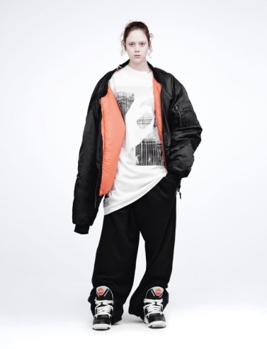 Jacket Vetements autumn/winter 15. T-shirt MM6. Jogging bottoms Martine Rose autumn/winter 15.