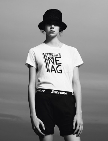 T-shirt Marc by Marc Jacobs. Hat Alexander Wang (menswear). Briefs Supreme.
